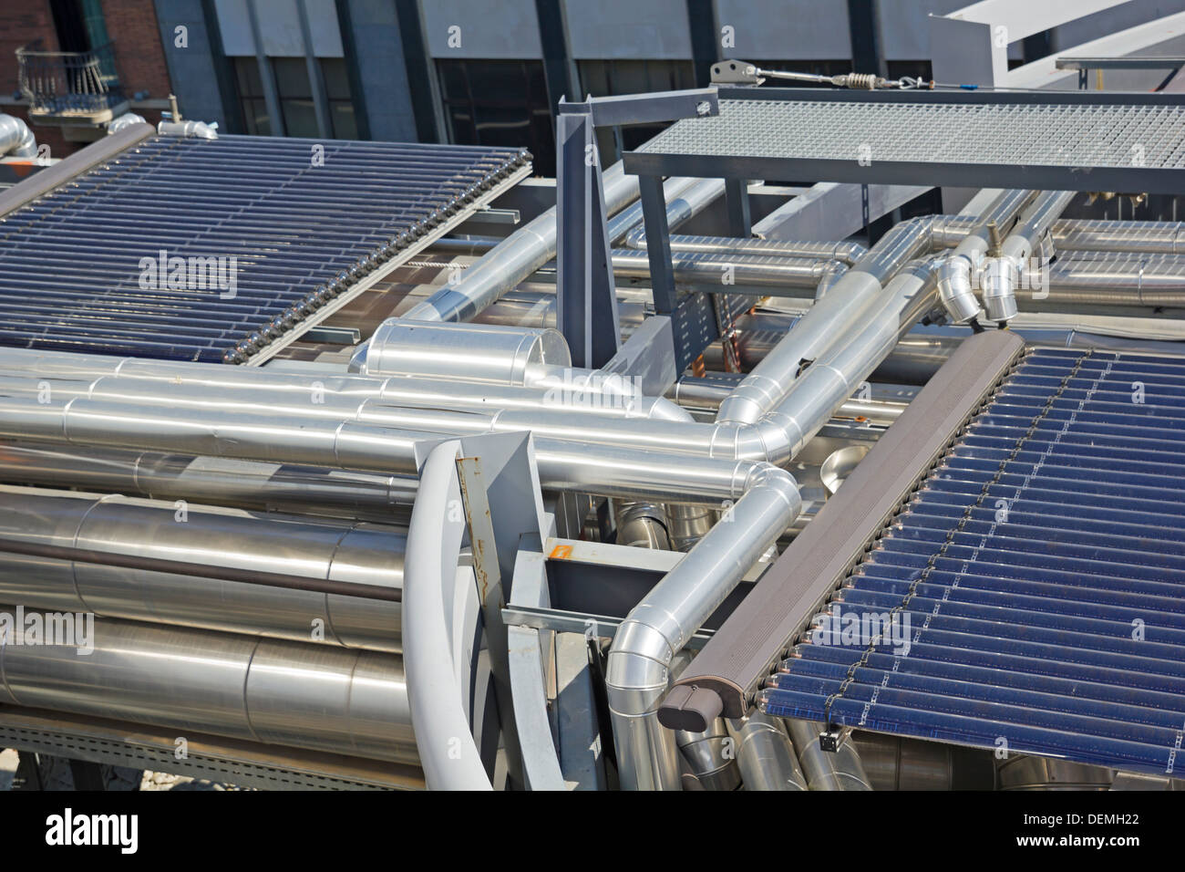 Solar vacuum tube. Integrated energy system of a building. - Stock Image