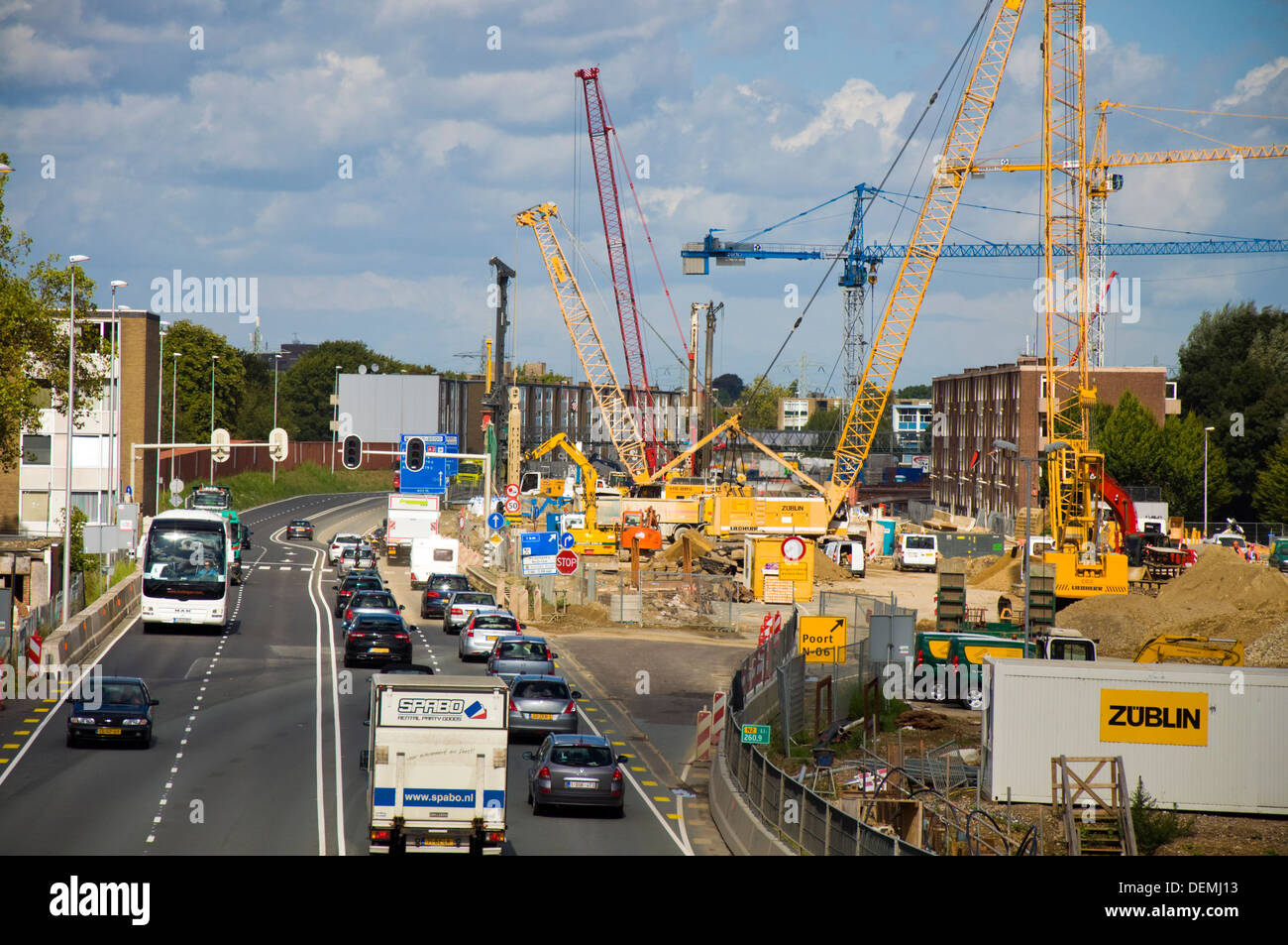 Construction work underway on the A2 tunnel road project at Maastricht Netherlands - Stock Image