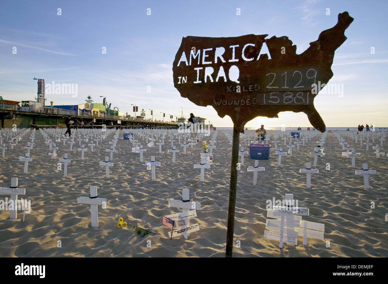 Memorial for Irak war dead at Santa Monica beach, Santa Monica Pier , Los Angeles, California, USA - Stock Image
