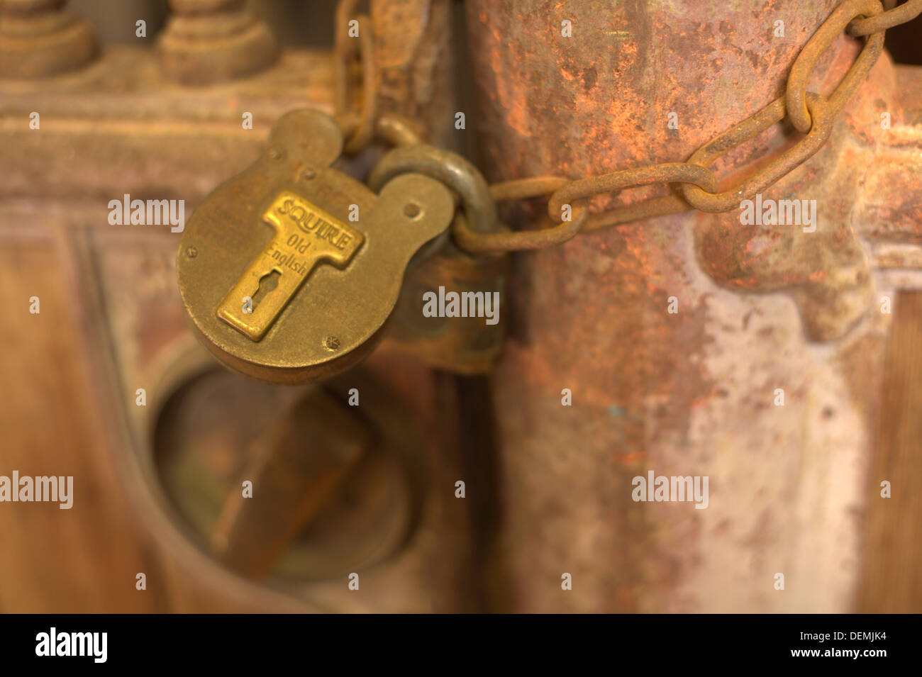 Squire padlock and chain - Stock Image