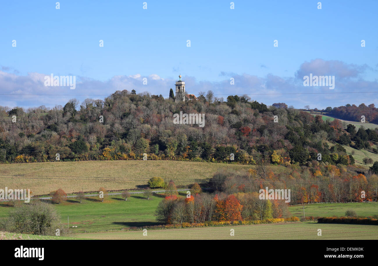 Autumn Landscape in rural England with the West Wycombe Golden Ball monument on top of the Church Tower - Stock Image