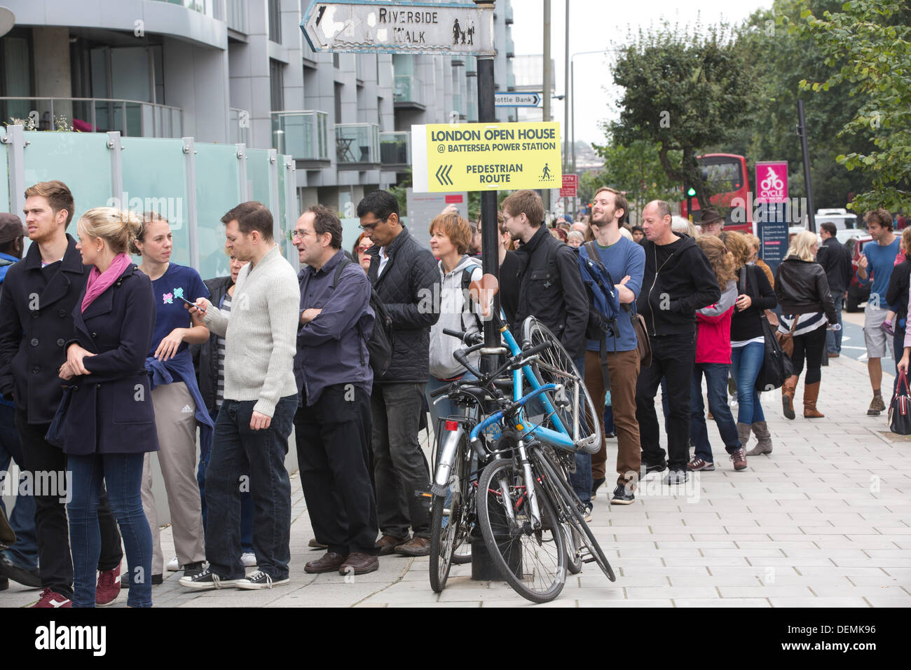 Battersea Power Station open house event, London, UK. 21st September 2013.  Picture shows hundreds of visitors queueing Stock Photo