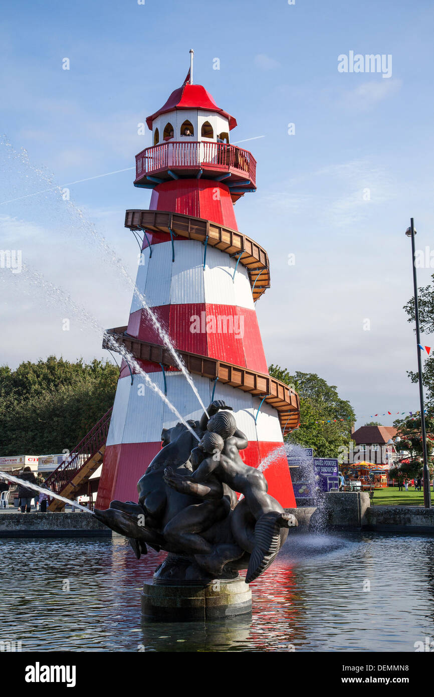Old traditional helter skelter fairground amusement ride, spiral & high tower at Port Sunlight, Wirral, UK.  21st Stock Photo