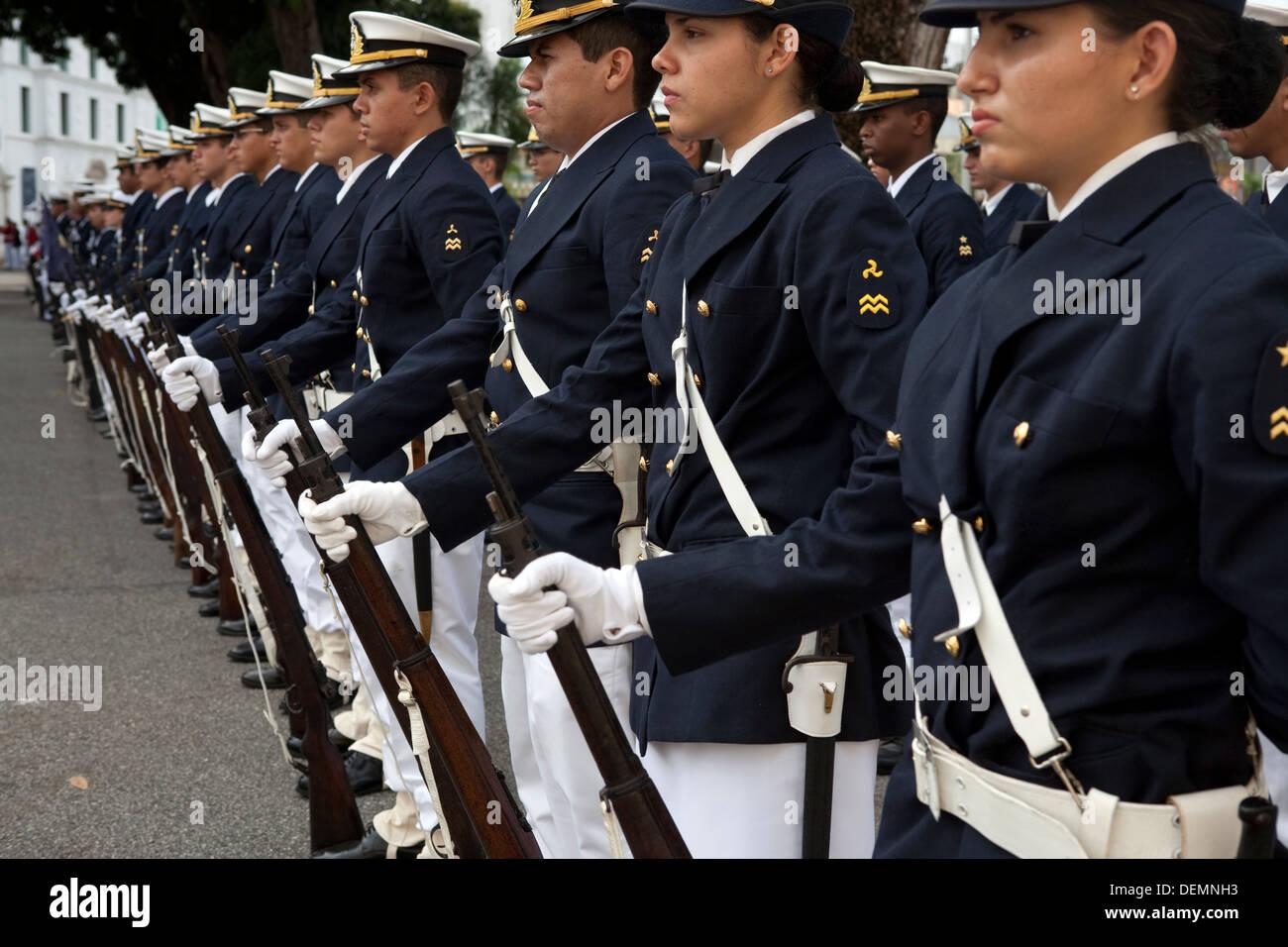 Military Parade next to Fort Presépio. - Stock Image