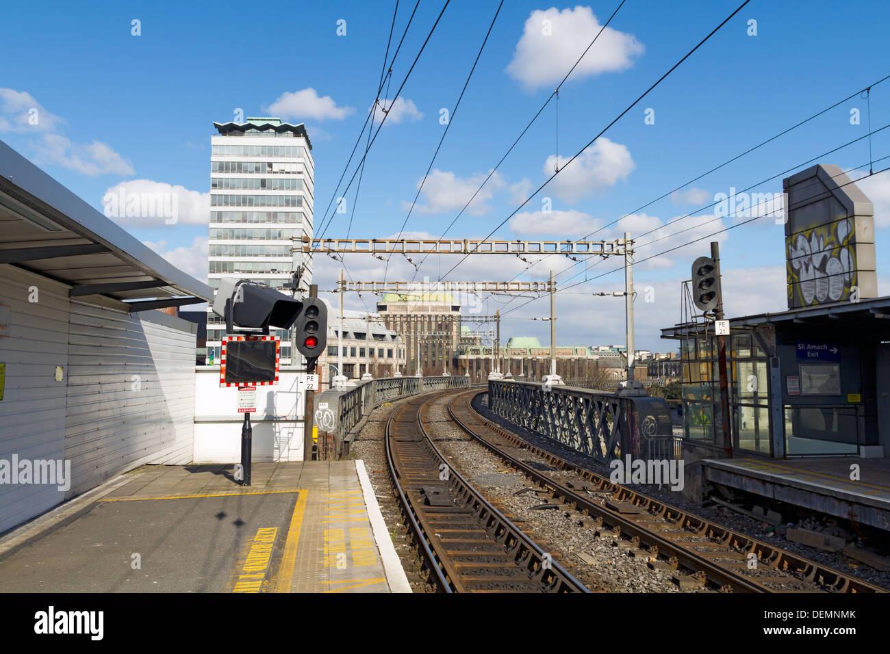Railway Station Platform in Dublin Ireland - Stock Image