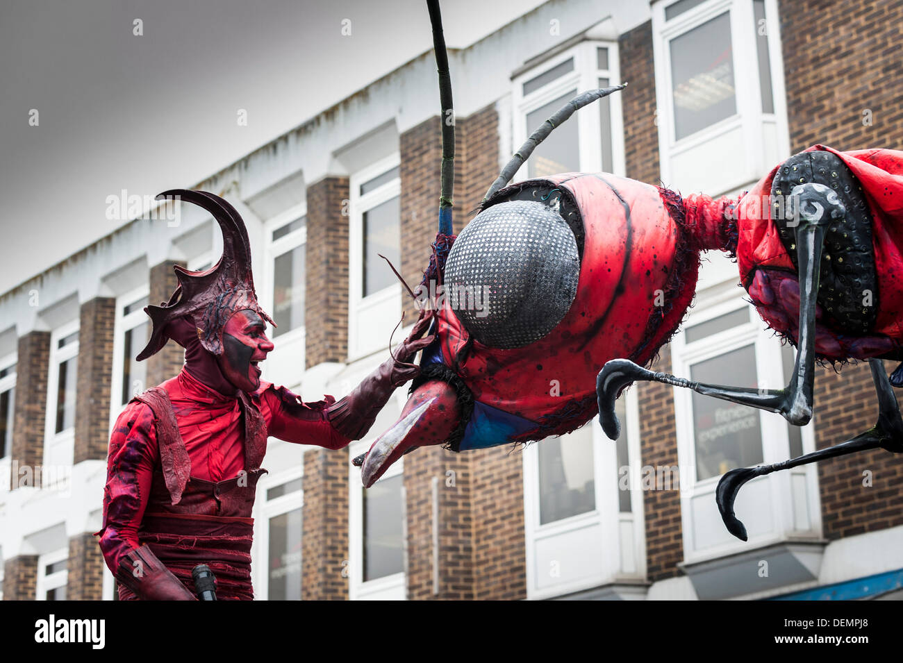 Witham, Essex, UK. 21st September 2013. The XL Insects performing at the Witham International Puppet Festival.  Photographer: Gordon Scammell/Alamy Live News - Stock Image