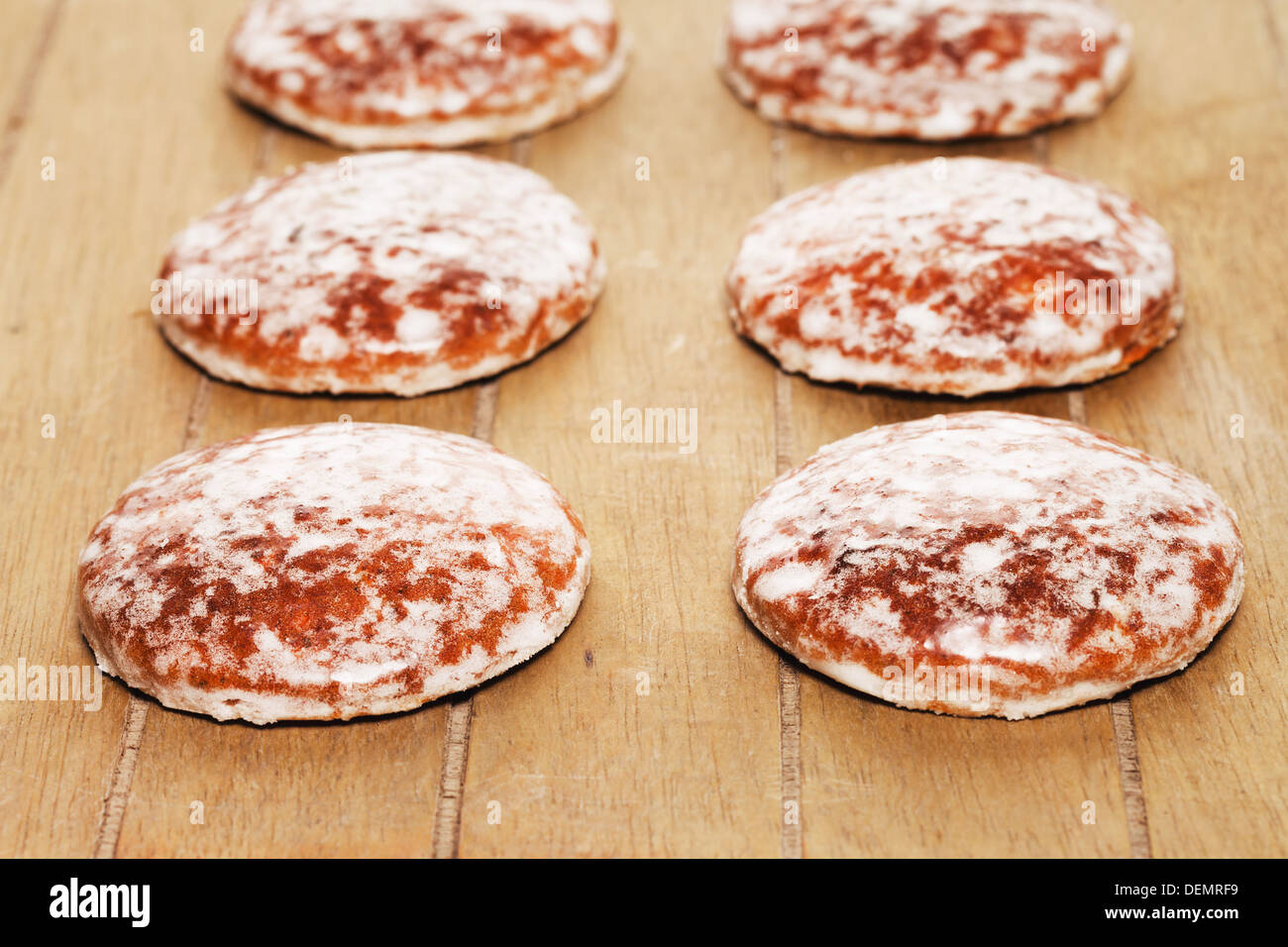 Traditional German Lebkuchen Gingerbread Cookies With Sugar Icing On