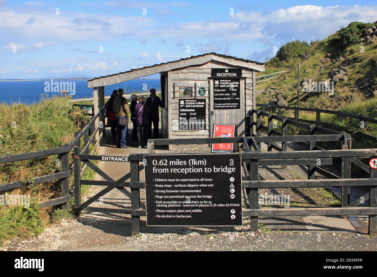 Entrance to Carrick-a-Rede, rope bridge on the Causeway Coastal Route, Northern Ireland. - Stock Image