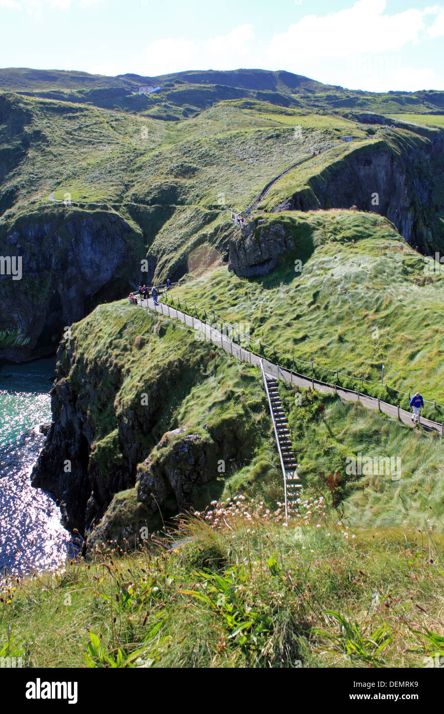 Path to Carrick-a-Rede, rope bridge on the Causeway Coastal Route, Northern Ireland. - Stock Image