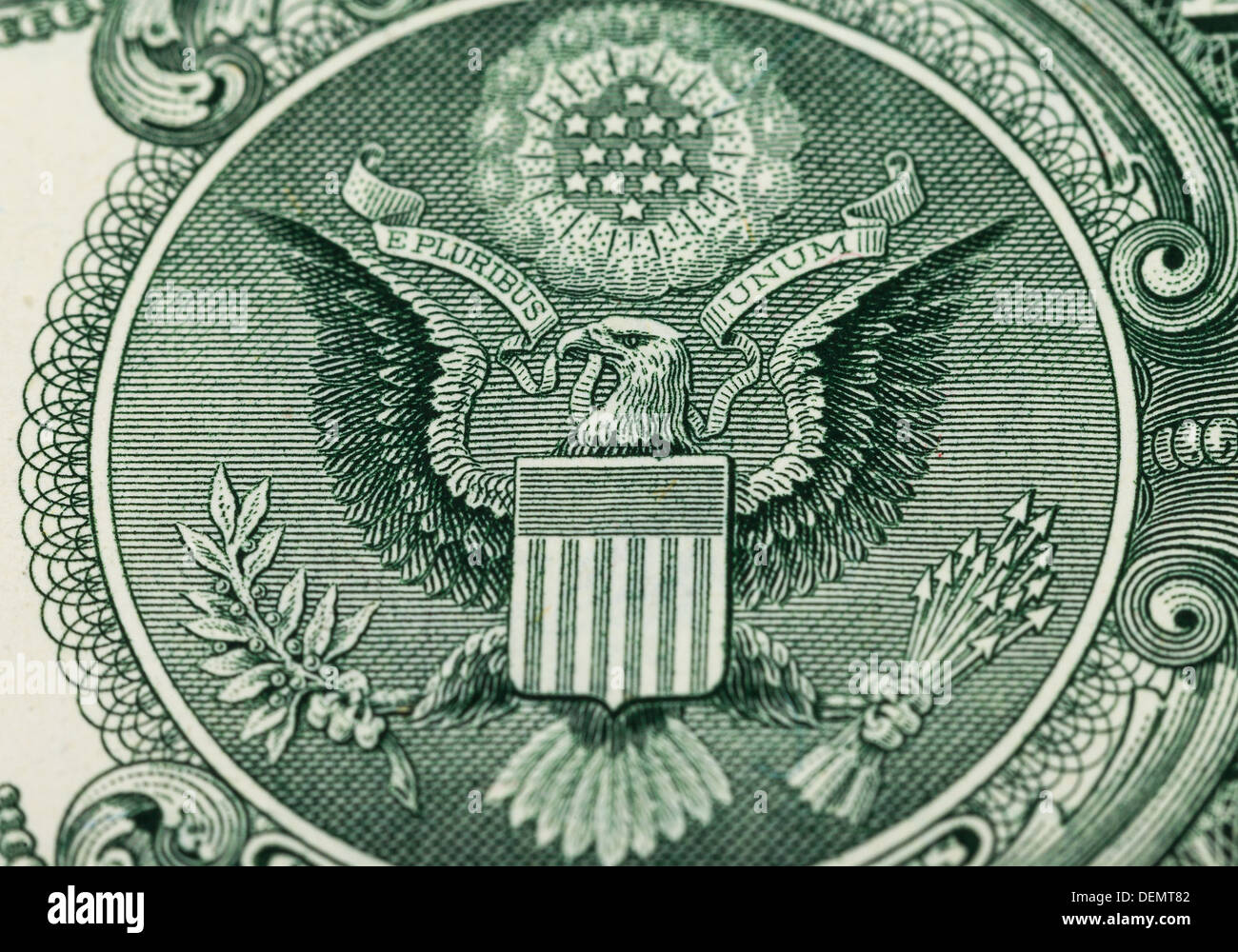 Great Seal of the United States on the reverse of a US Dollar Bill Stock Photo