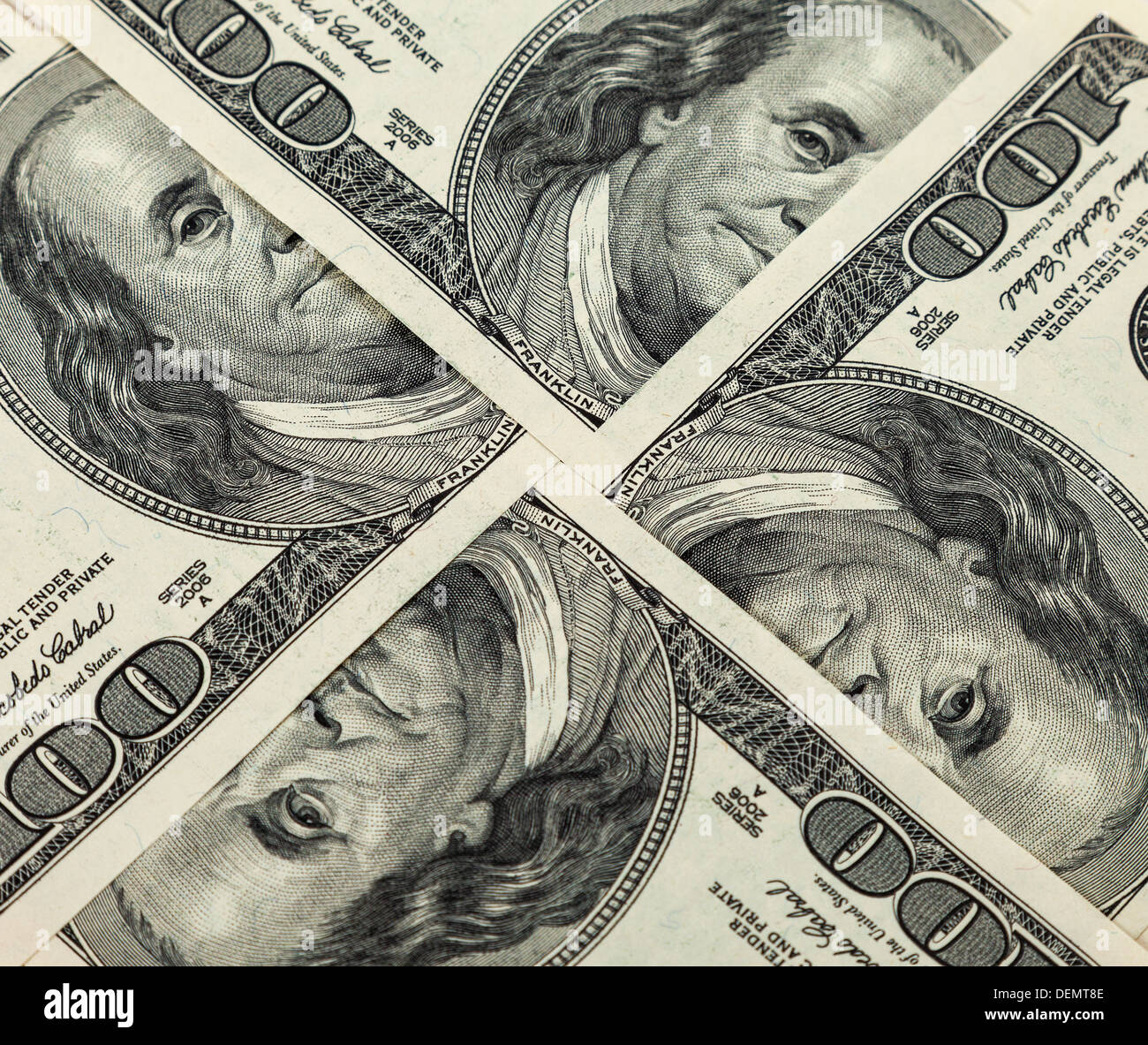 Four hundred dollar bills close up - Stock Image