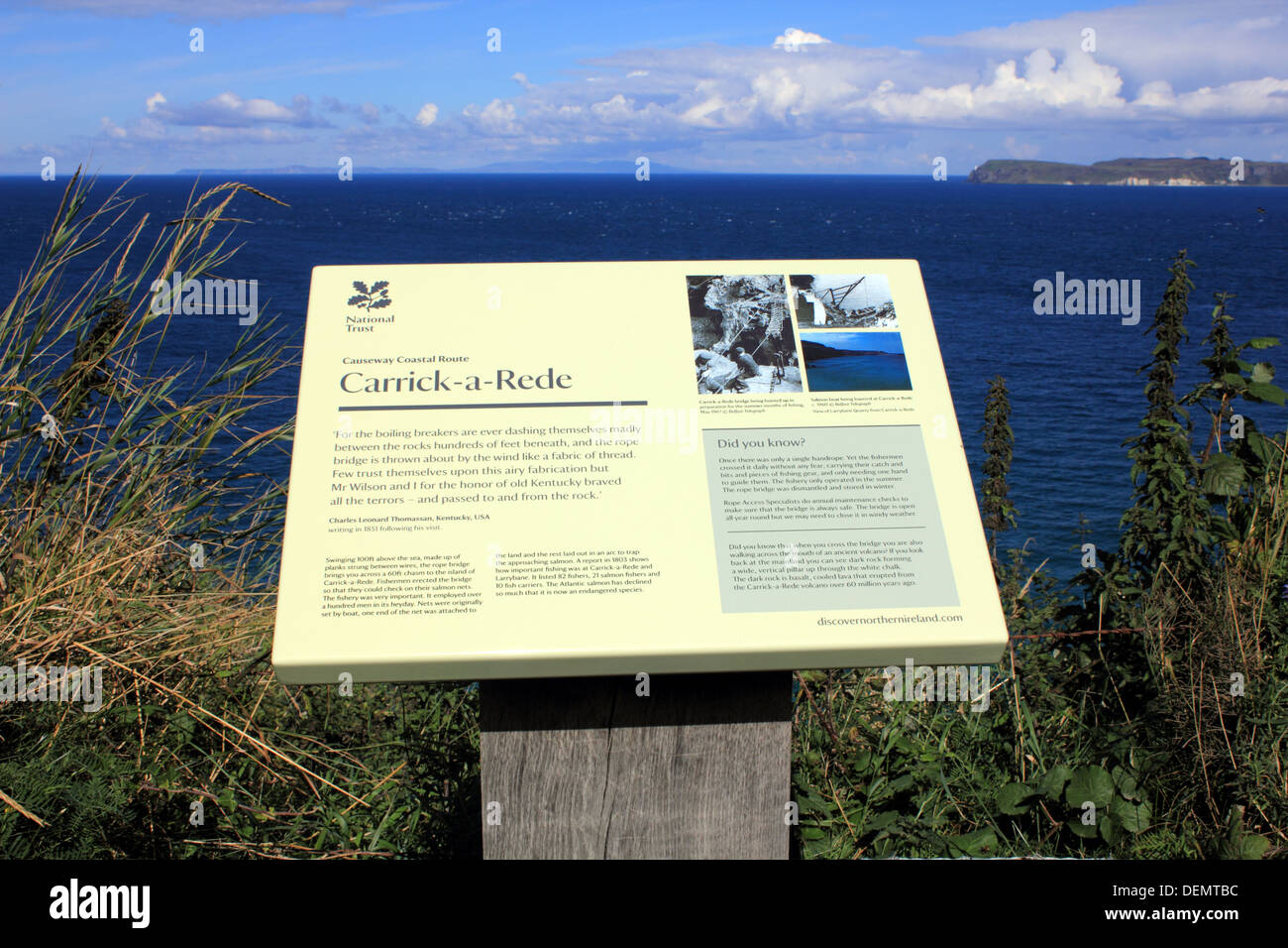 Carrick-a-Rede, rope bridge sign on the Causeway Coastal Route, Northern Ireland. - Stock Image