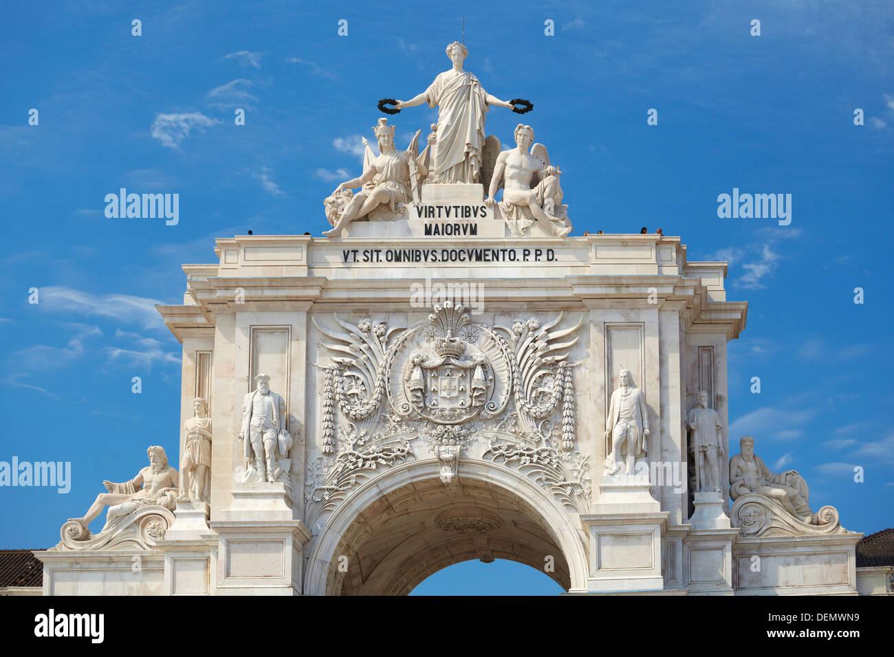 Arch at Commerce Square (Praca do Comercio), Lisbon, Portugal - Stock Image