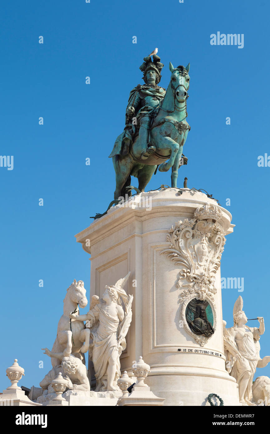 Monument of King Jose I, Lisbon, Portugal - Stock Image