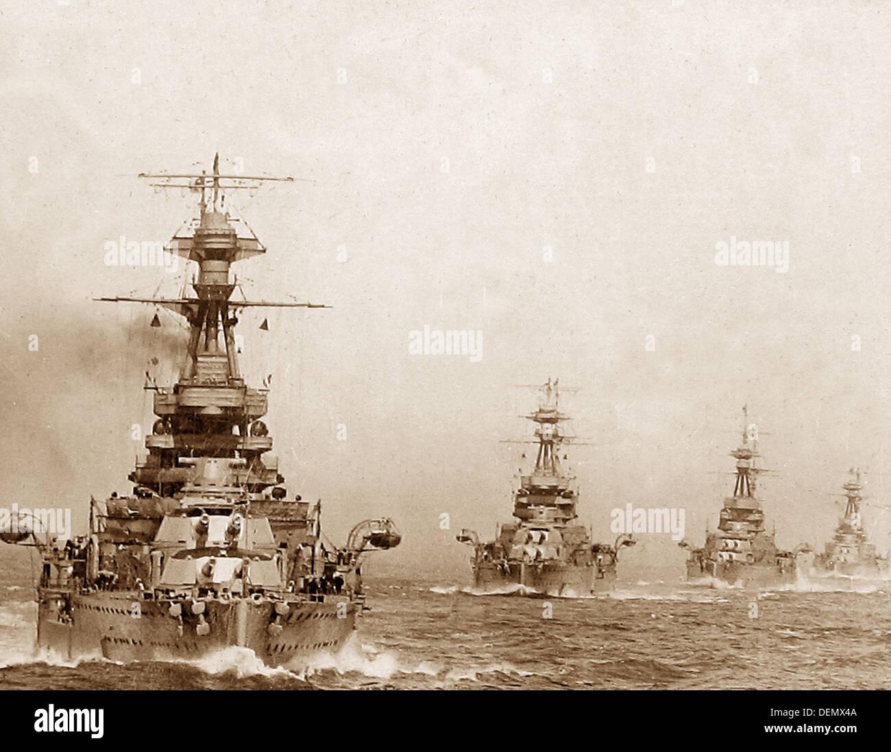 Royal Navy Battleships in Line - Stock Image