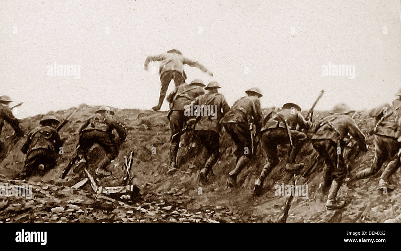Over the top - trench warfare during WW1 - Stock Image