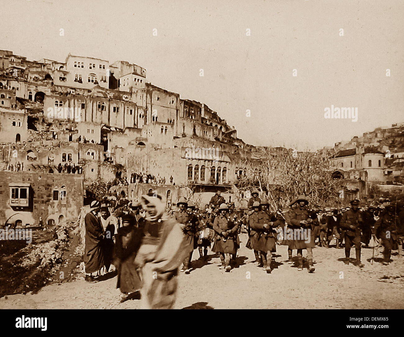 London Scottish Regiment marching through Es Salt during WW1 - Stock Image