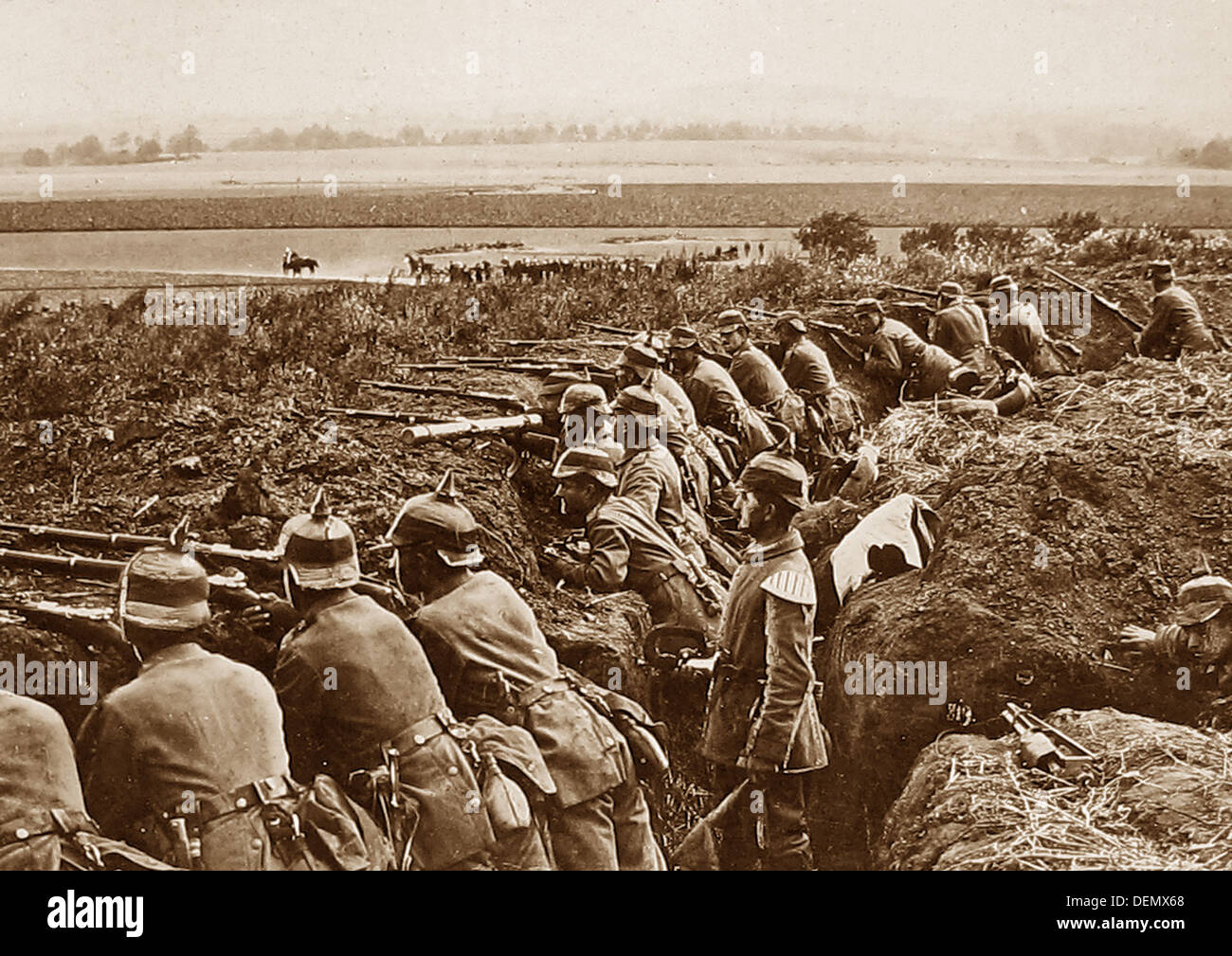 German Infantry in a trench during WW1 - Stock Image