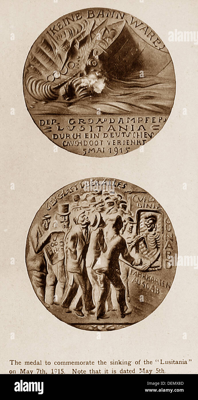 RMS Lusitania Medal issued in 1915 - Stock Image