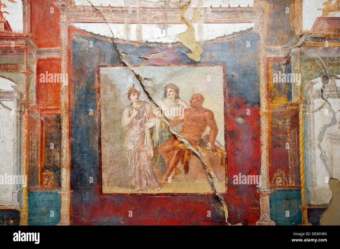 Fresco in the College of the Augustans« depicting the myth of Hercules, ruins of the old Roman city of Herculaneum  Italy. - Stock Image