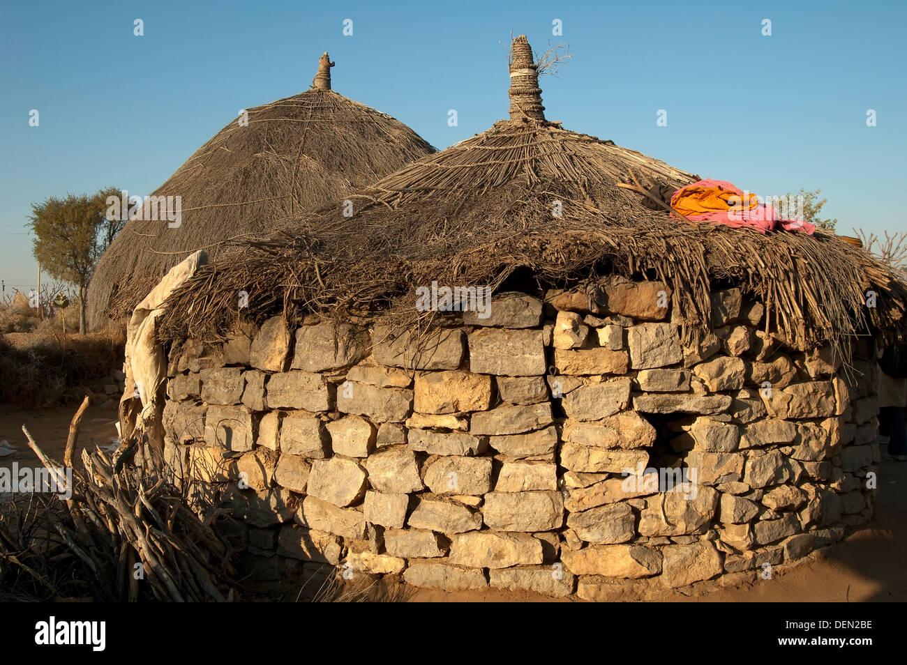 Rajastan village hut - Stock Image