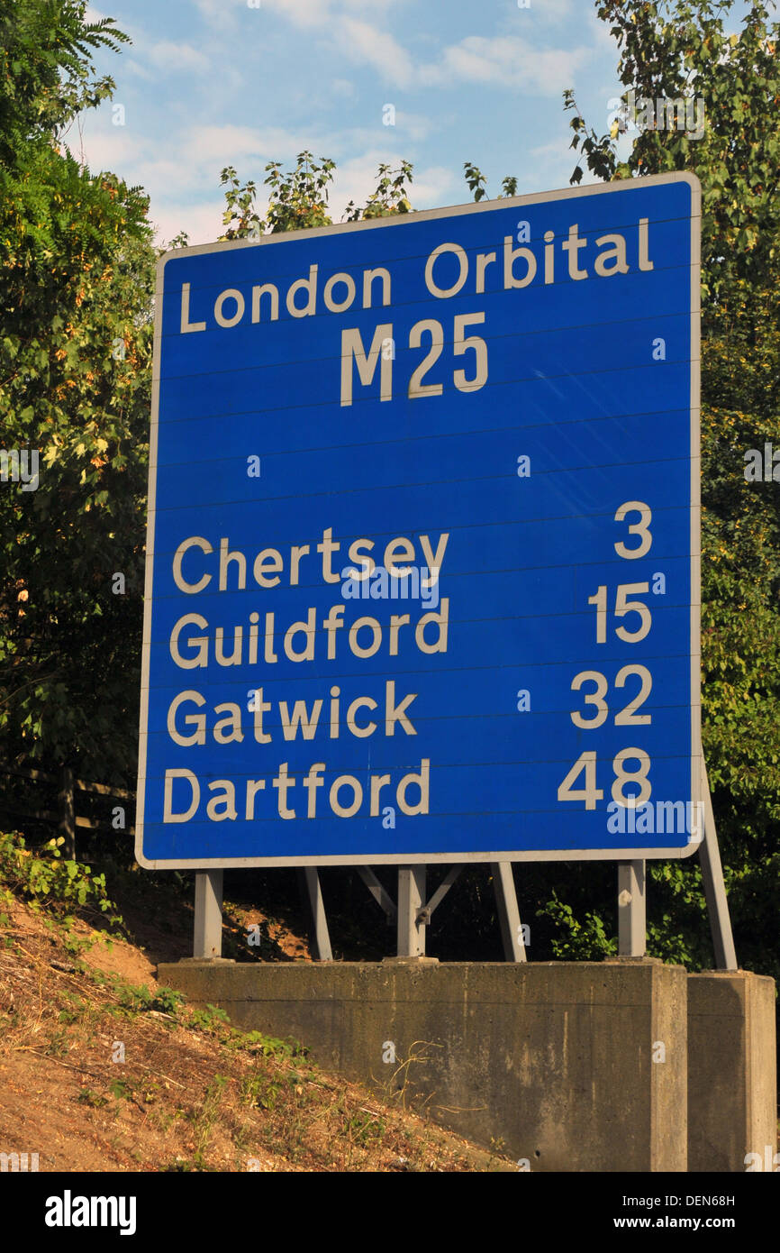 A British road sign directing traffic to towns around the M25 London orbital motorway. - Stock Image