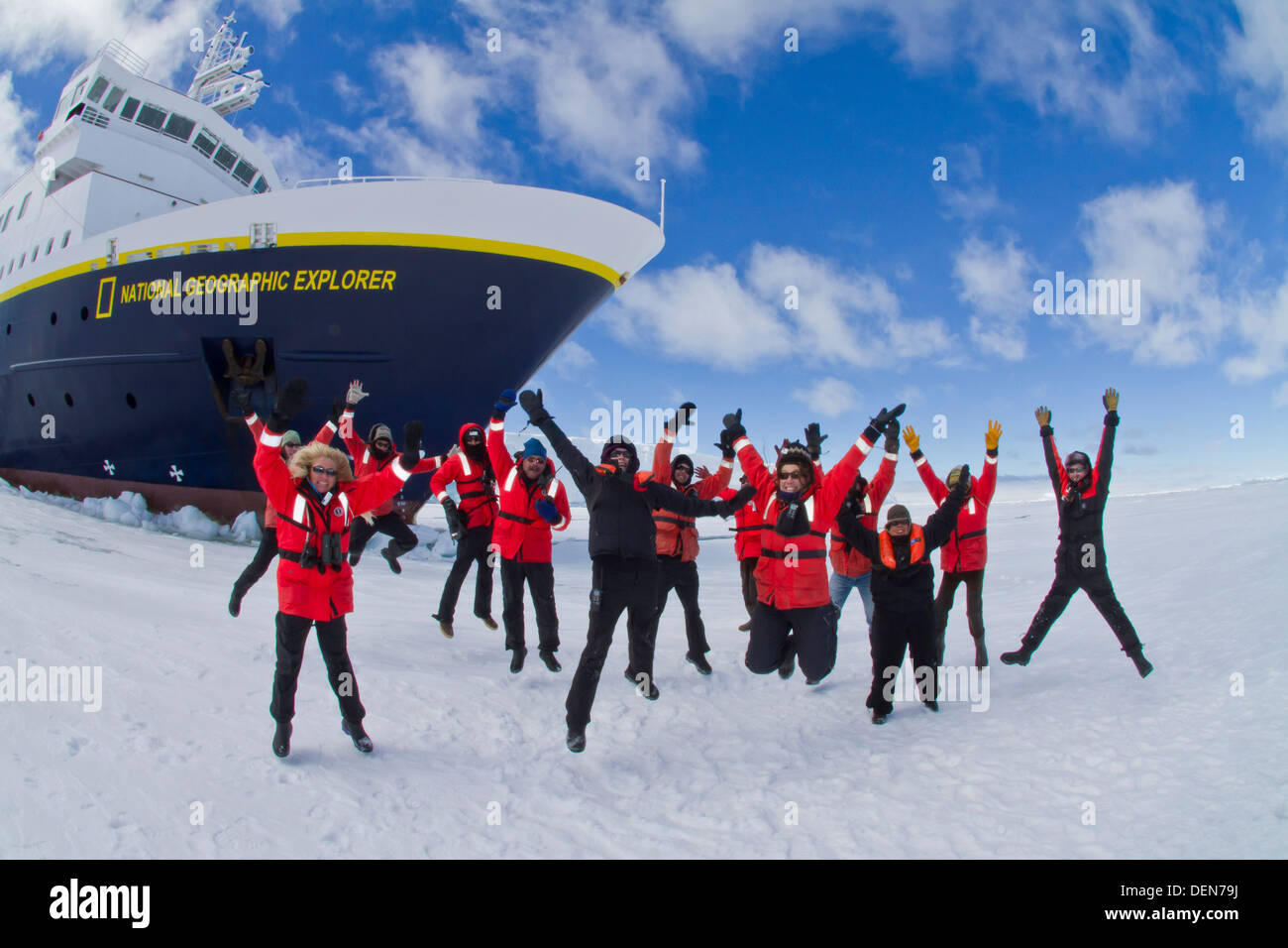 Staff from the Lindblad Expedition ship National Geographic Explorer shown here is the entire staff working in Antarctica - Stock Image