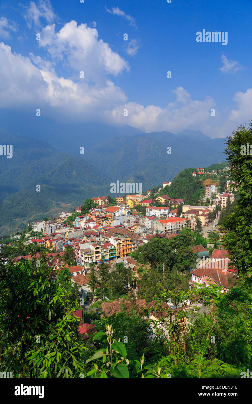The Sapa townsite from Ham Rong Mountain, Vietnam, Asia. - Stock Image