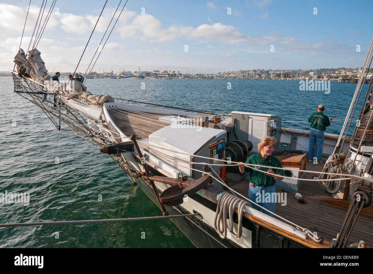 California, Maritime Museum of San Diego, Californian built 1984, replica of 1847 Revenue Cutter C.W. Lawrence, - Stock Image