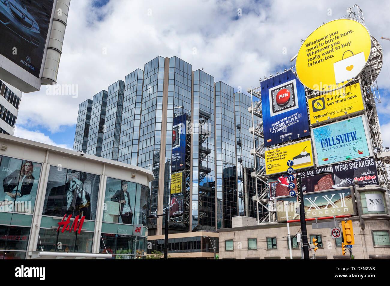 Advertisements and billboards around Dundas Square, Toronto - Stock Image