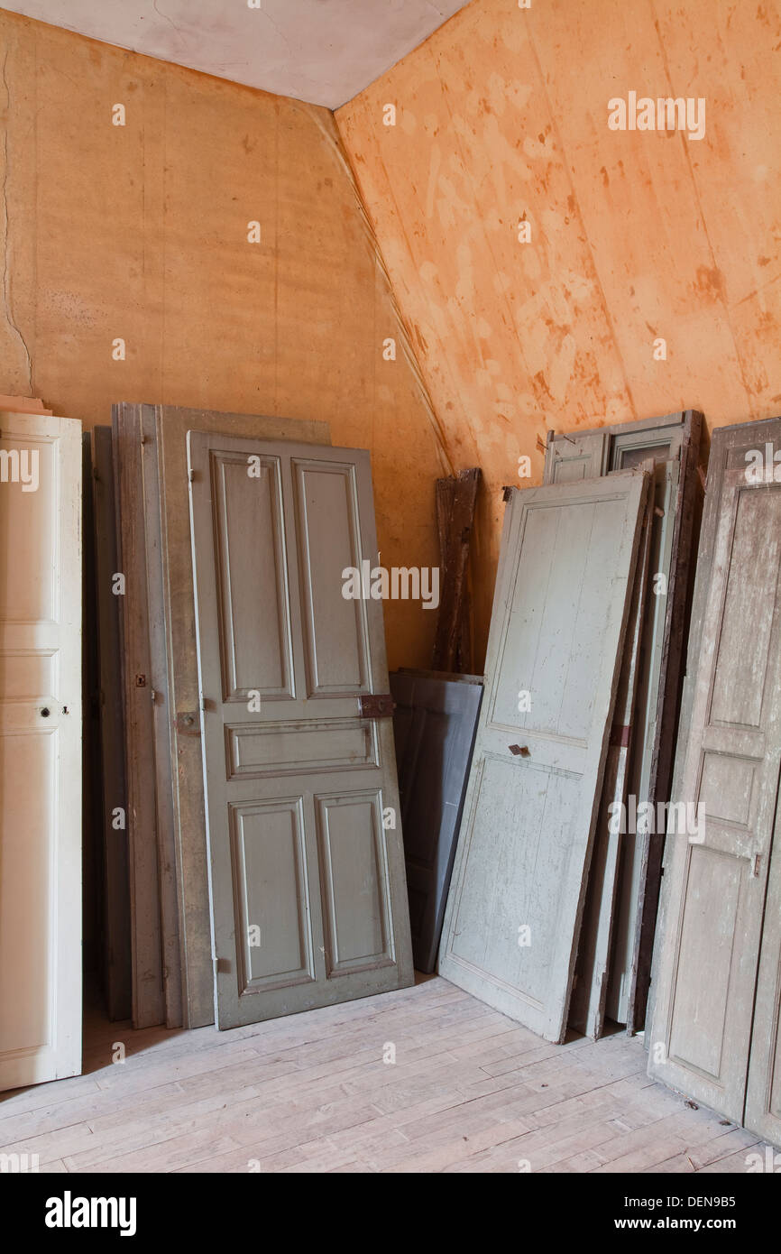 Old wooden doors inside the chateau of Chaumont-sur-Loire. - Stock Image