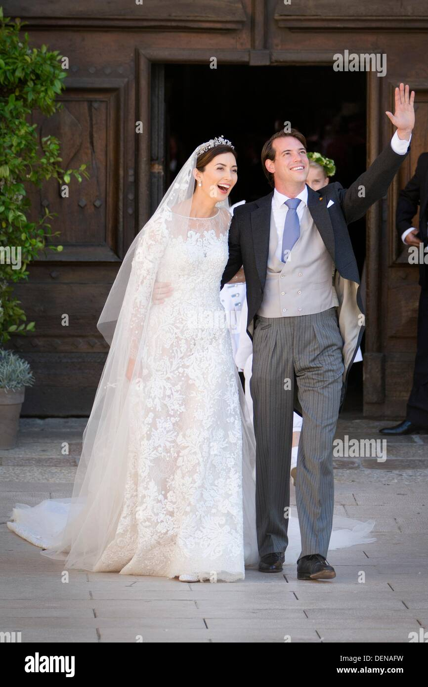 Prince Felix And Princess Claire Of Luxembourg Leave The Saint Mary Magdalene Basilica After Their Wedding In Maximin La Sainte Baume: Princess Claire Wedding Dress At Websimilar.org