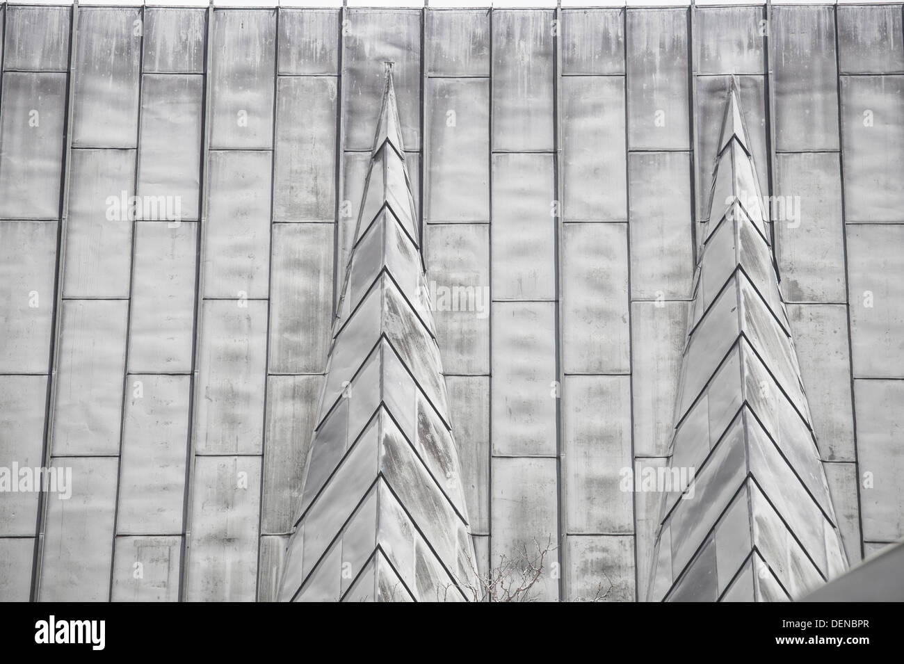 closeup of lead tiles on church roof Auckland New Zealand Stock
