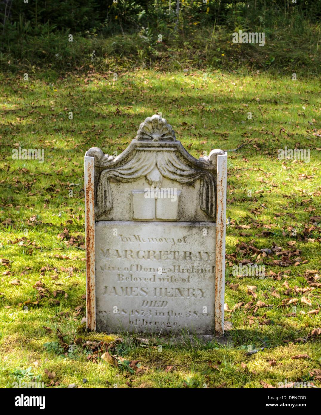 Loyalist gravestones in New Brunswick Canada graveyard - Stock Image