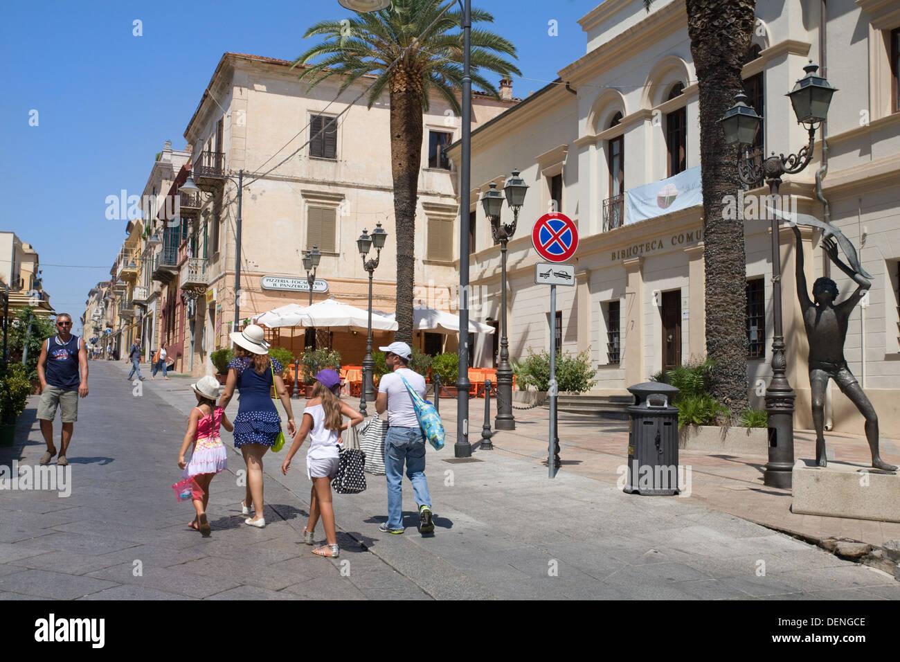 Corso Umberto, Olbia city, Sardinia, Italy - Stock Image