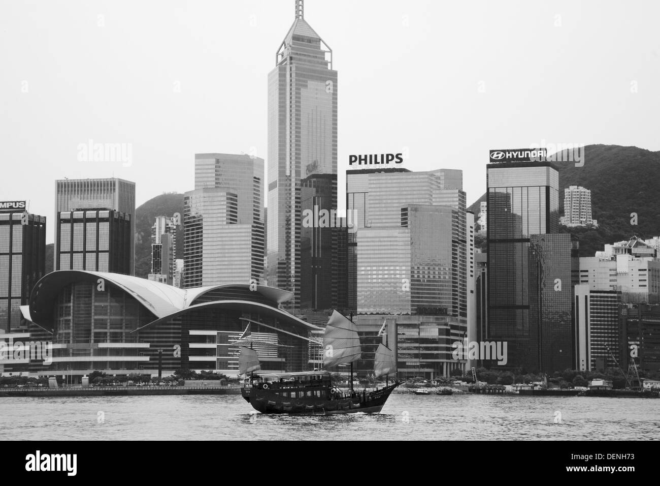 Junk style boat in the harbour, Hong Kong - Stock Image