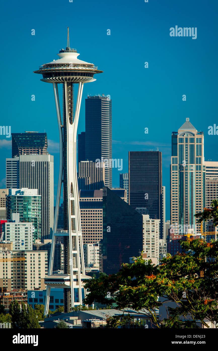 The Space Needle and skyline of Seattle Washington, USA - Stock Image