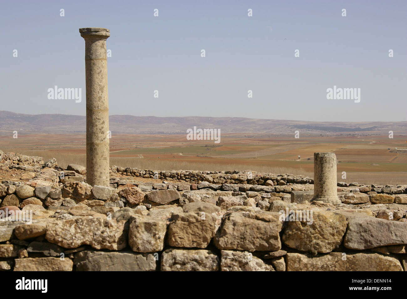 Spain. Numancia. Ancient city of Celtiberians and Arevacos. 7Km from Soria. On the elevated and large hill of La Muela de Garay - Stock Image