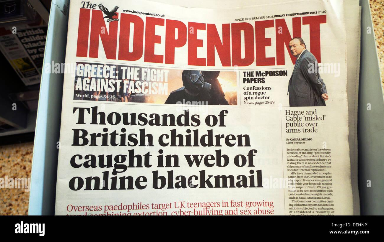 independent newspaper headline thousands of british children caught
