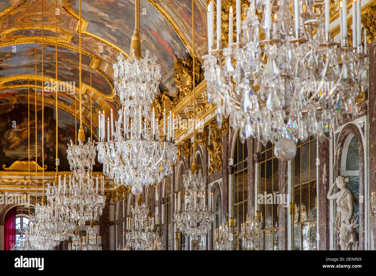 Ceiling and chandeliers lustre in the hall of mirrors cahteau de ceiling and chandeliers lustre in the hall of mirrors cahteau de versailles france aloadofball Images