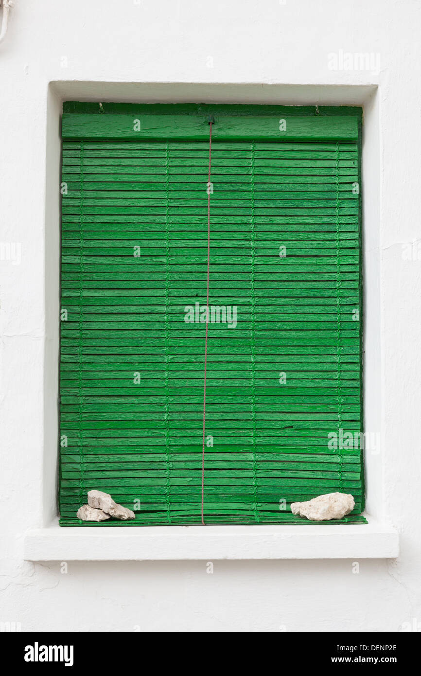 Typical green shutter in the village of Baltanás - Province of Palencia, Castile and León, Spain - Stock Image