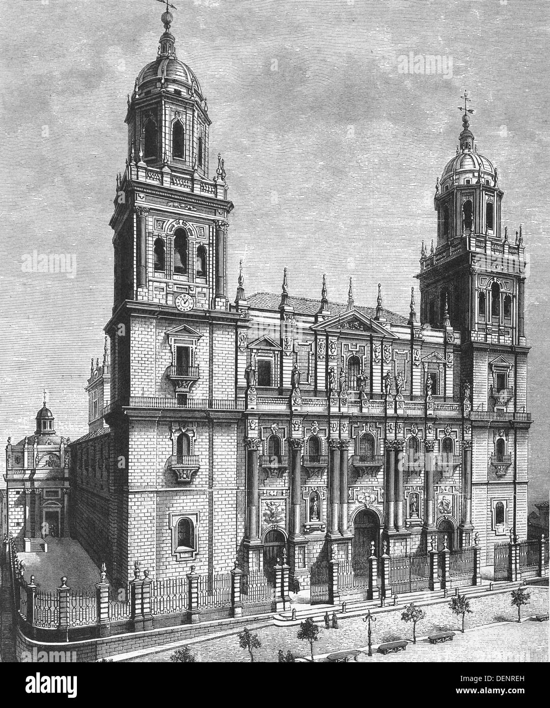 Façade. Cathedral. Jaen. Andalusia. Spain. Engraving, 1885 - Stock Image
