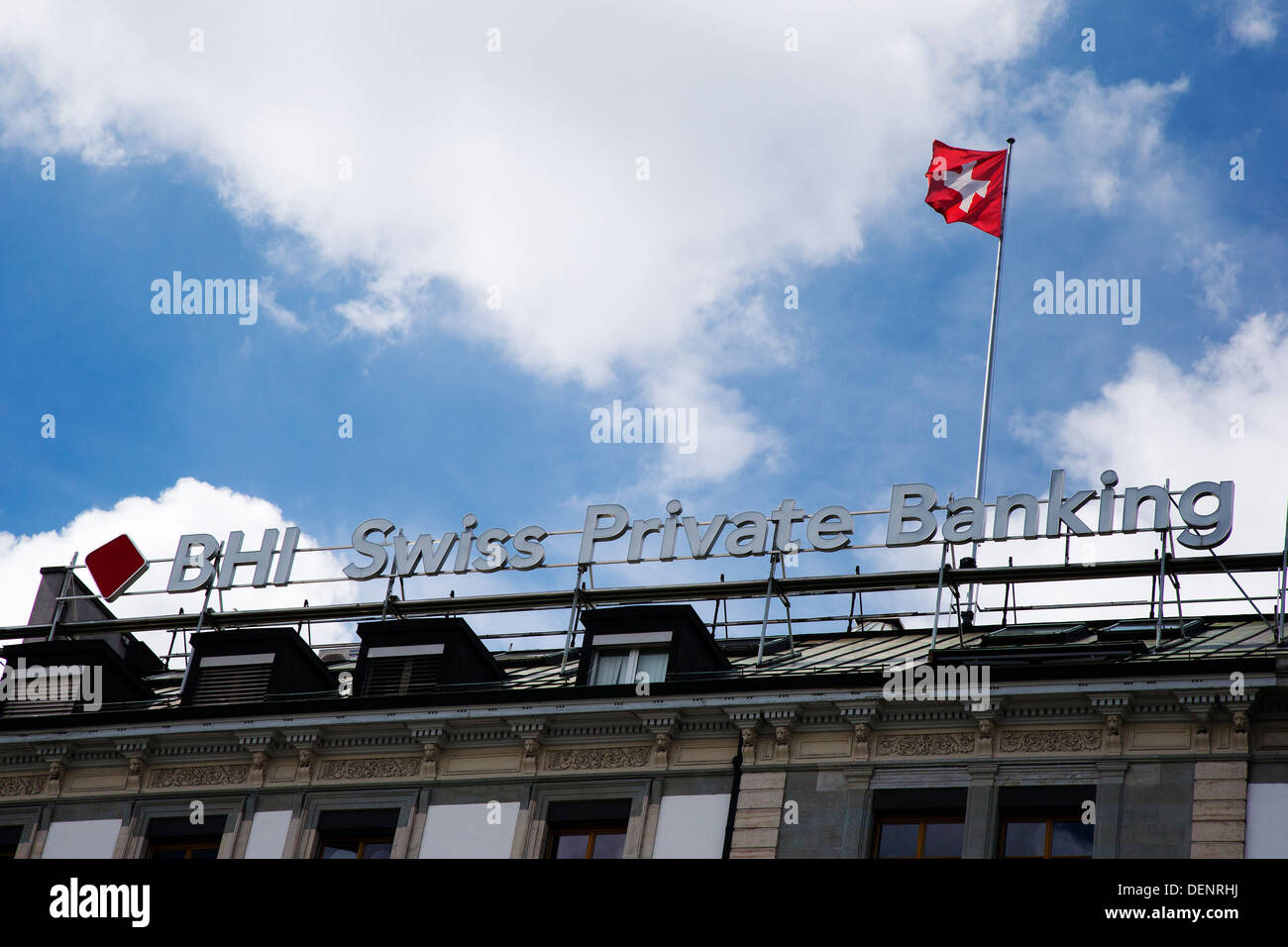 BHI Swiss Private Banking sign on the company's building in Geneva - Stock Image