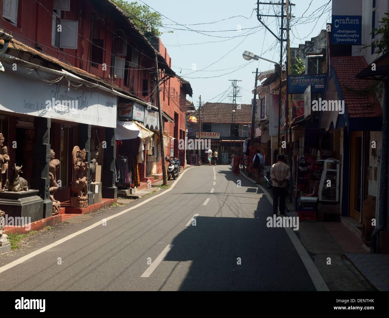 Jew Town streets Fort Cochin Kerala India - Stock Image