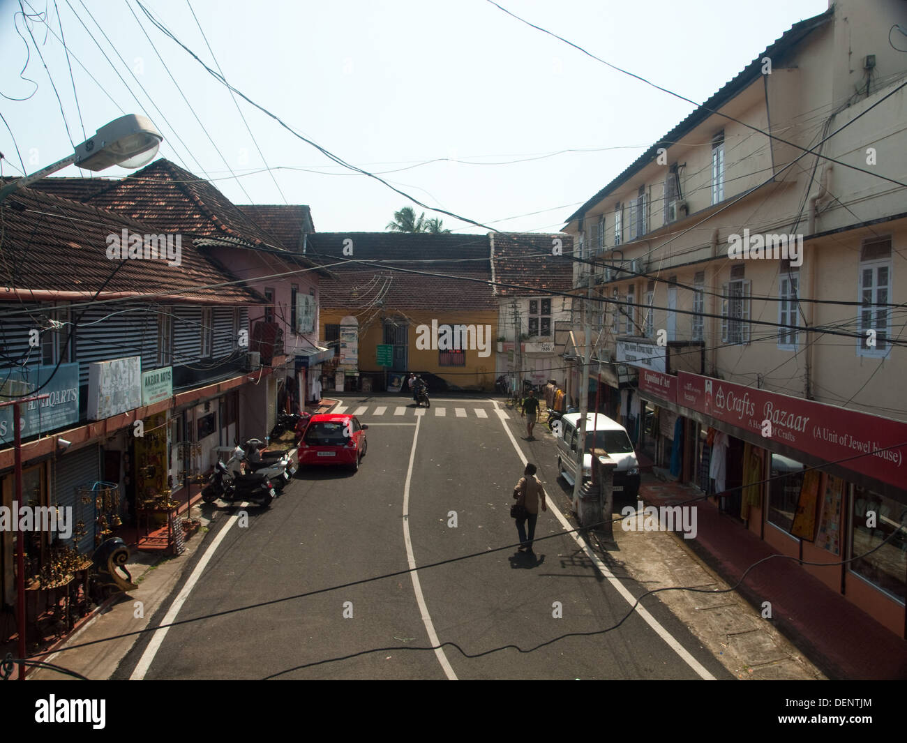 Jew Town streets Fort Cochin Kerala India - Stock Image