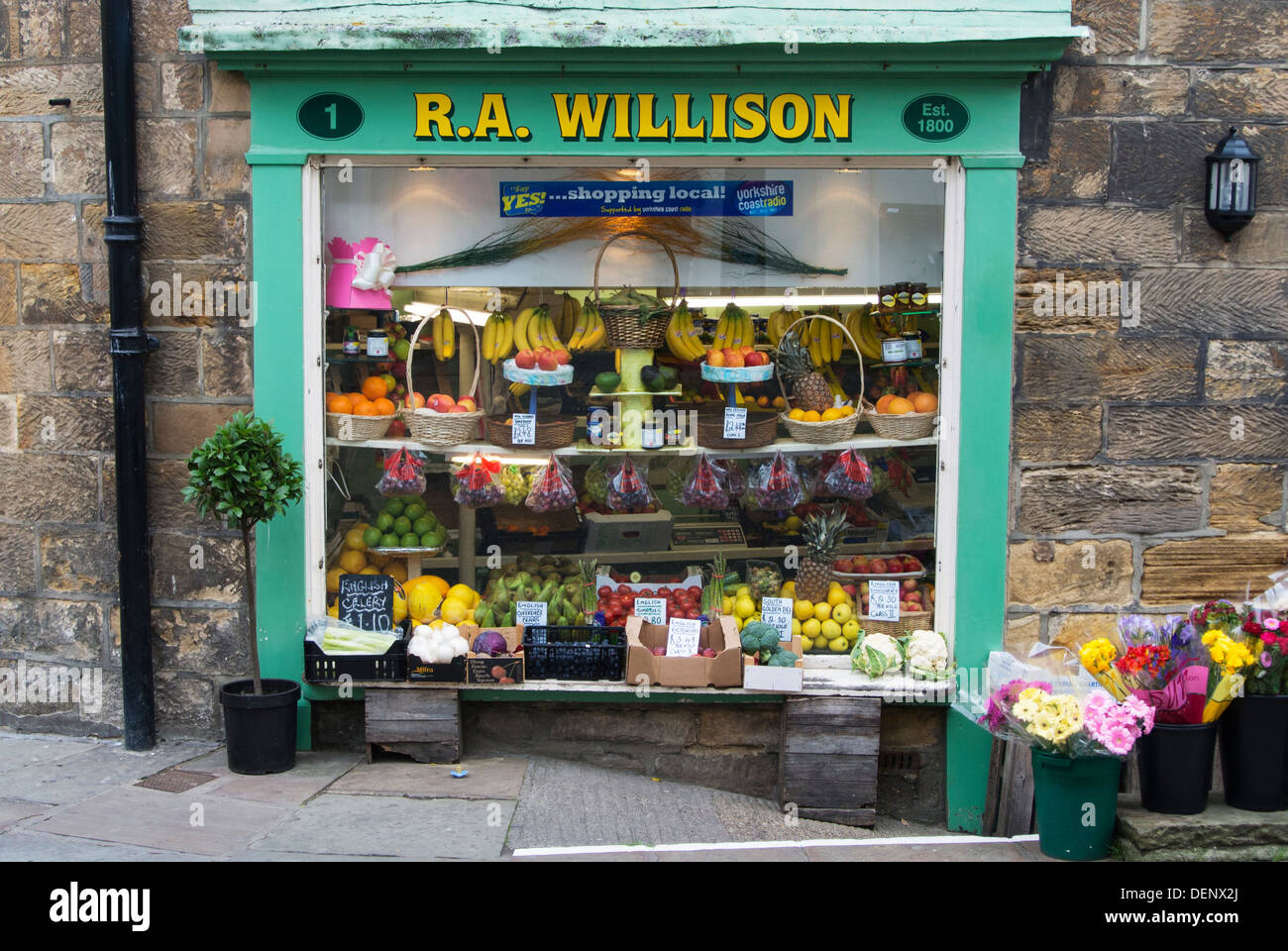 A traditional greengrocers shop, Whitby, North East Yorkshire - Stock Image