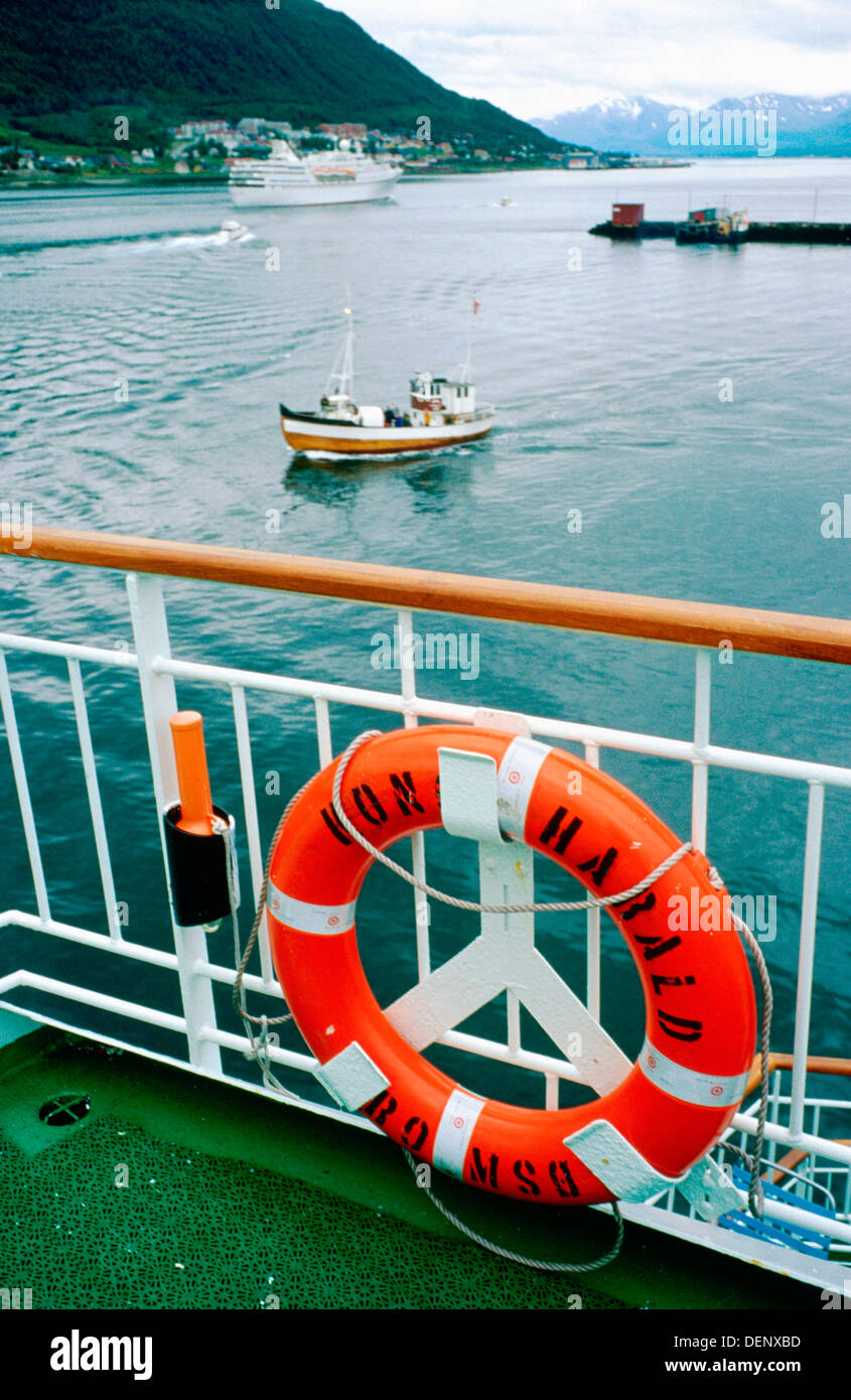 Tromso´s coast from the cruise ´Kong Harald´. Norway - Stock Image