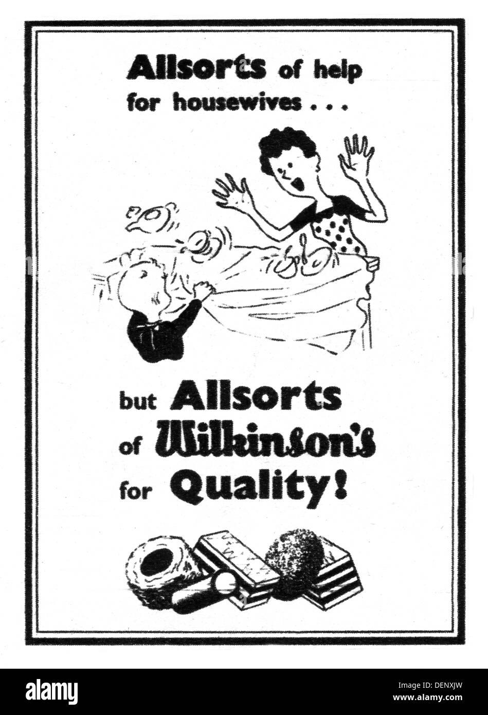 1953 advert for Wilkinson's / Bassett's liquorice Allsorts sweets now made by Cadbury brand owned by Mondelēz International Inc - Stock Image