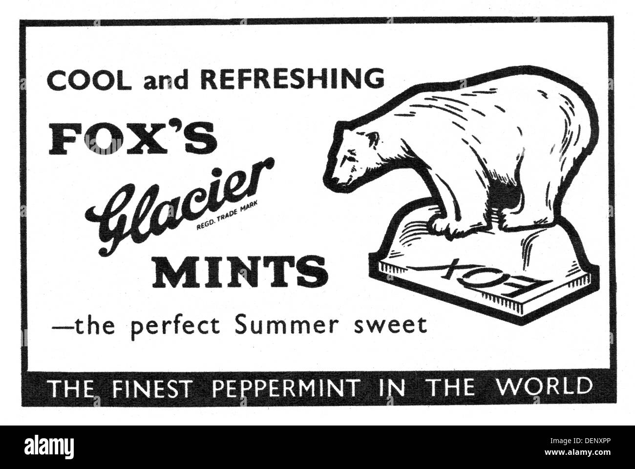 1957 advert for Fox's Glacier Mints - Stock Image