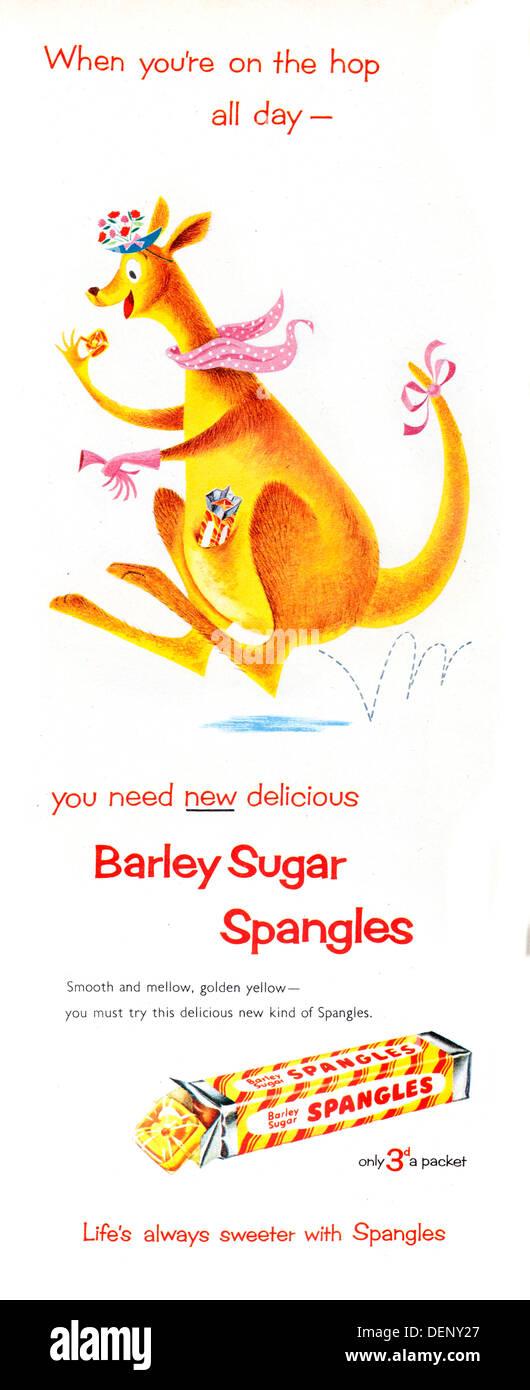 1954 advert for Spangles barley sugar sweets - Stock Image